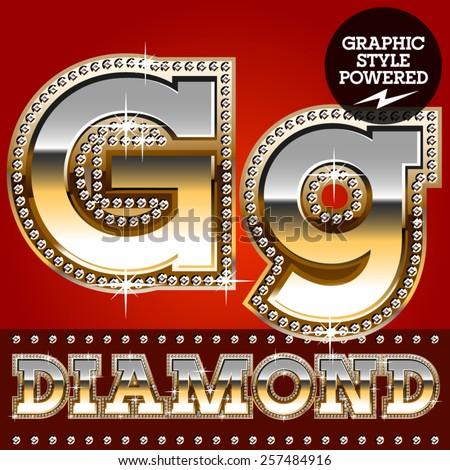 Vector set of luxury font in gold color with diamond border. Letter G  - stock vector
