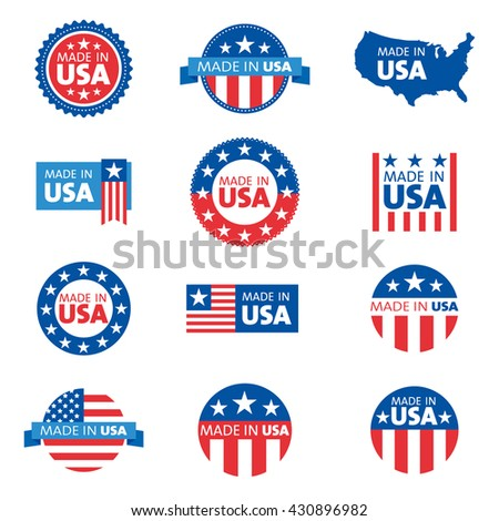 Vector set of made in the USA labels  - stock vector