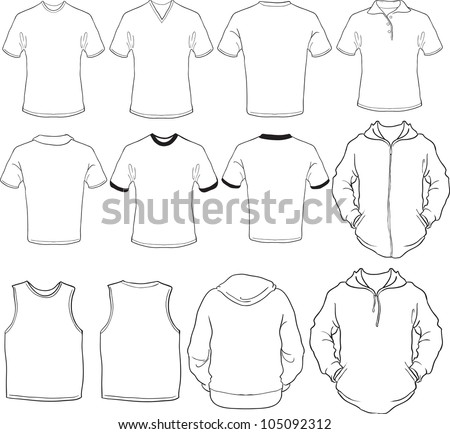 vector set of male shirts template, front and back designs in white, check out my portfolio for different t-shirt templates - stock vector