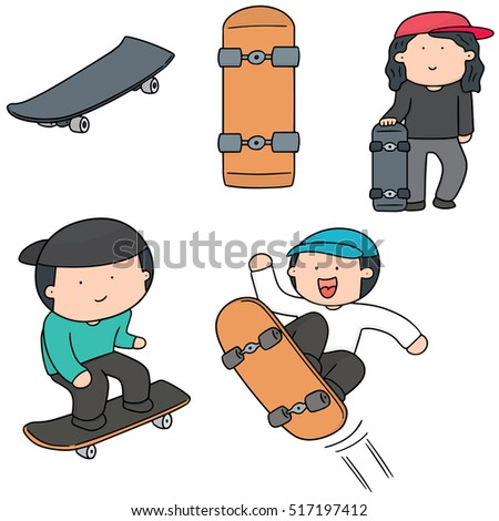 vector set of man play skateboard