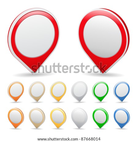 Vector set of map markers - stock vector