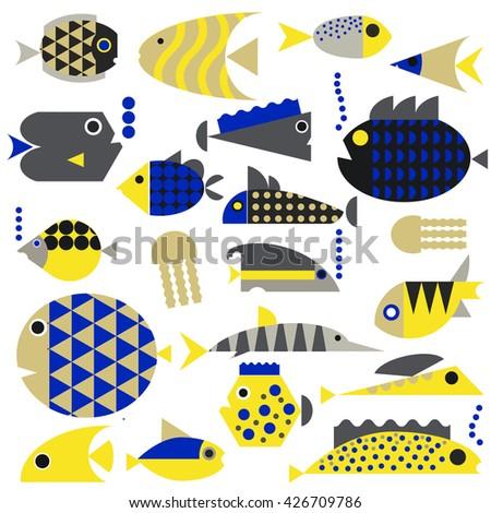 Vector set of marine animals , aquatic animals : whale , fish , algae , fauna, underwater life. Fish, starfish, jellyfish, algae and attributes. Vector flat illustration . - stock vector