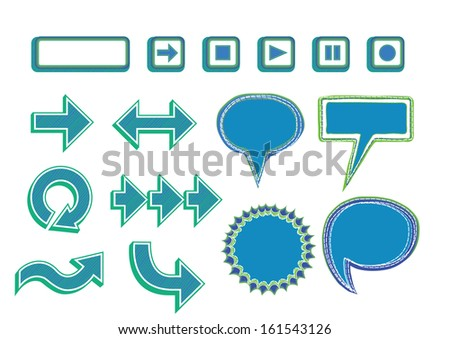 Vector Set of Media Player Buttons, Arrows and Bubbles -blue color - stock vector