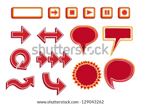 Vector Set of Media Player Buttons, Arrows and Bubbles - red color - stock vector