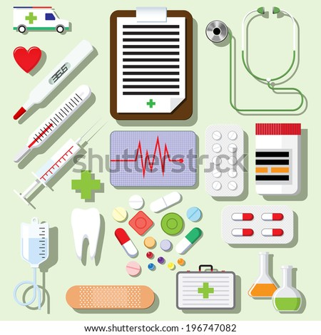 Vector set of medical icons isolated on light background - stock vector