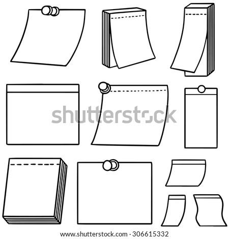 vector set of memo note - stock vector