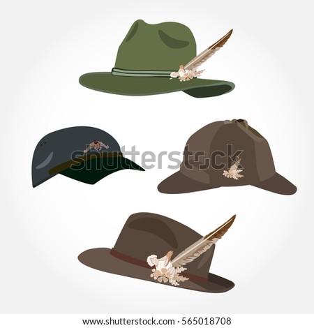 Vector Set Mens Hats Feather Deerstalker Stock Vector ...