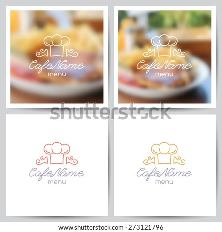 vector set of menu cover templates, logo for cafe or restaurant and blurred backgrounds of food - stock vector