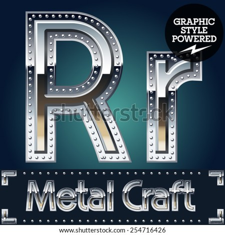 Vector set of metal aluminum alphabet with riveted border. Letter R - stock vector