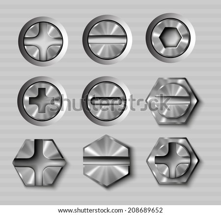vector set of metal bolts and screws - stock vector