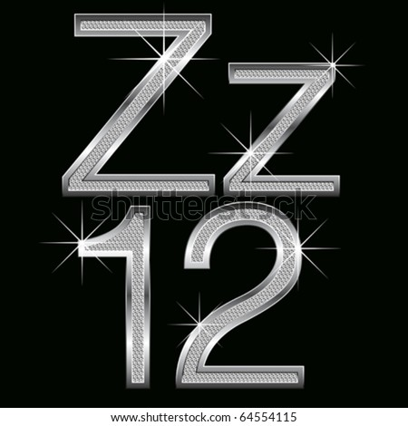 vector set of metal diamond letters and numbers big and small - stock vector