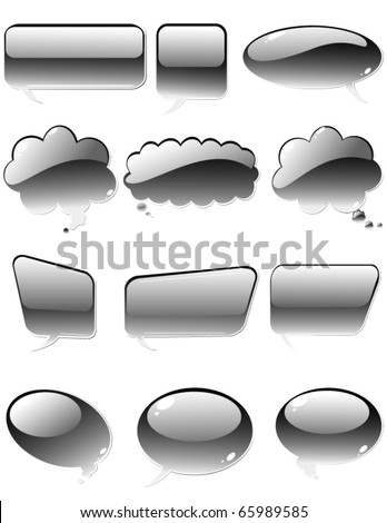 vector set of Metallic chat elements - stock vector