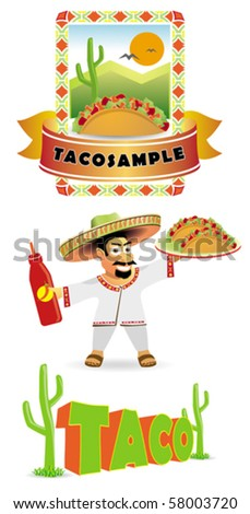 Vector set of mexican food, mexican man with taco
