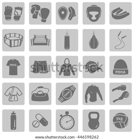 Vector Set of Mix Martial Arts Icons. MMA Icons.  Boxing, Kick Boxing, Thai Boxing, Wrestling, Grappling. Fighting, Training and Competition. - stock vector