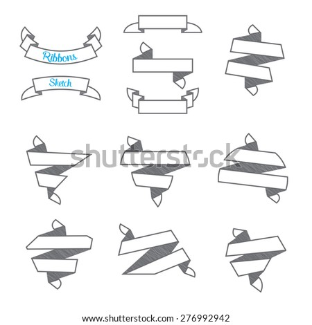 Vector : Set of Modern abstract ribbons in sketch style ,use for business concept