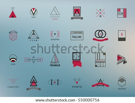 Vector set of modern and minimal outline logos, geometric - square, circle, triangle. Minimalism styled hipster icons for multiple use on blurred background. Creative ideas for brand identity work.