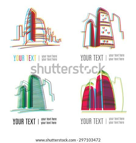 Vector set of modern city building logos - colorful design - stock vector