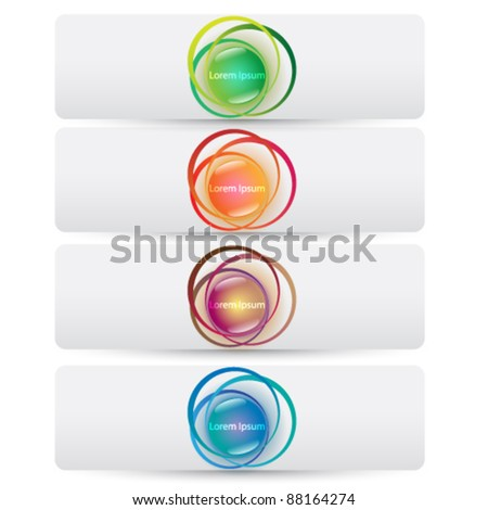 Vector set of modern, colorful abstract web banners - stock vector