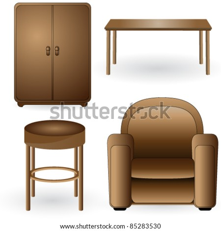Vector set of modern, elegant, detailed furniture icons - stock vector