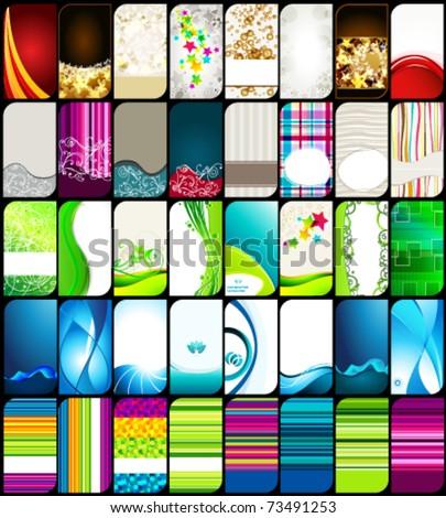 Vector set 40 of modern, elegant, vertical, colorful business cards - stock vector
