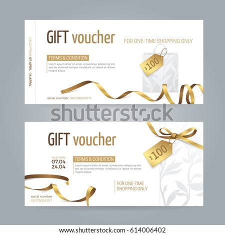 Vector set modern gift vouchers paper stock vector 614006402 vector set of modern gift vouchers with paper shopping bag golden ribbons small bow yadclub Image collections