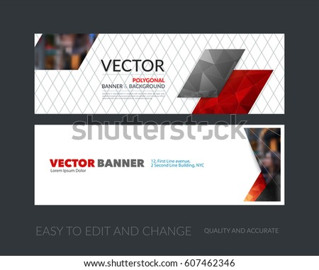 Vector set of modern horizontal website banners with colourful diagonal, rectangular shapes for industry, beauty, tech, communication. Clean web headers design with overlay effect.