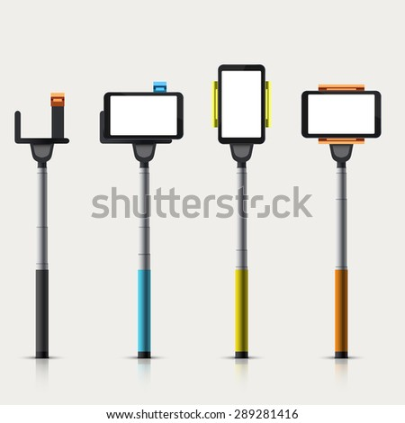 vector set of modern monopod for selfie on a light background - stock vector