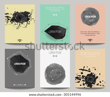 Vector set of modern posters with geometrical shapes and splashes. Trendy hipster style for flyers, banners, invitations, business contemporary design. - stock vector
