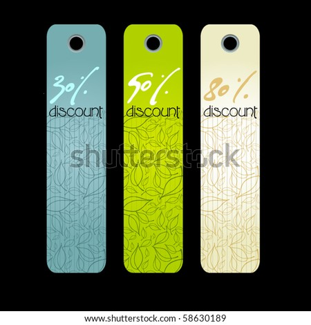vector set of modern price tags with illustrated leaves