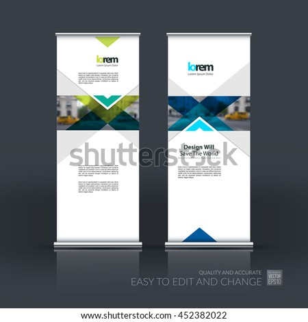 Vector set of modern roll up banner stand design with blue arrows, triangles with overlap effect for business with construction, building and modern concept. Corporate vector vertical flyer. 