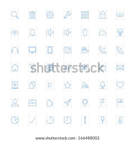 Vector set of modern simple thin icons. Design elements for mobile and web applications. - stock vector