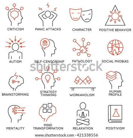 Vector set of 16 modern thin line icons related to mental features of human brain process, mental disorders. Simple Mono line pictograms and infographics design elements and symbols - part 2 - stock vector