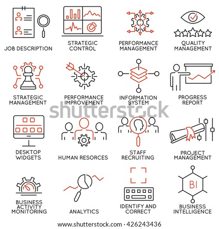 Vector Set of 16 Modern Thin Line Icons Related to Strategy Management System and Balanced Scorecard. Simple mono line pictograms and infographics design symbols - part 2 - stock vector