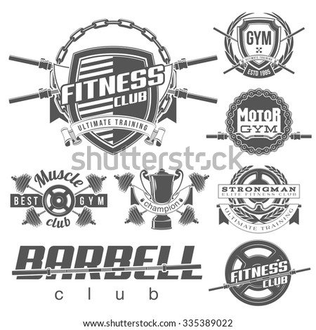 vector set of monochrome vintage gym emblems, labels and design elements logotype Isolated on white background - stock vector