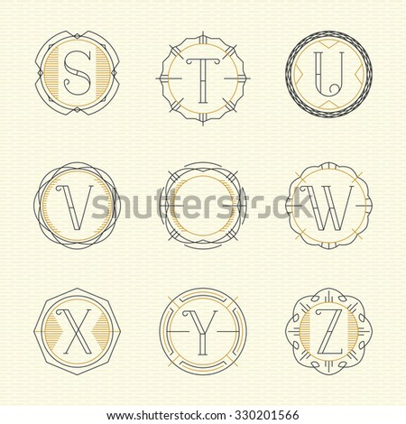 Vector set of monogram logo emblem templates in trendy outline style. Letters S - Z. - stock vector