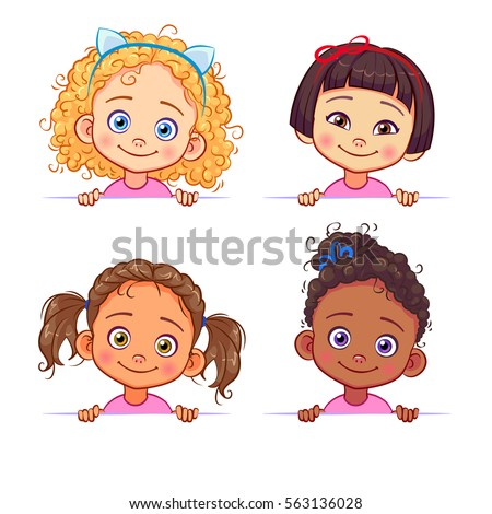vector set multiethnic little girls holding stock vector