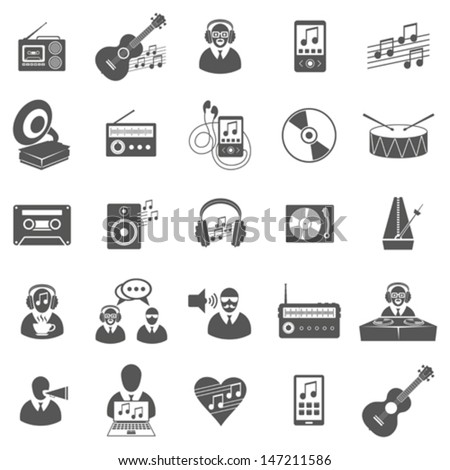 Vector set of music icons, symbols and pictograms - stock vector
