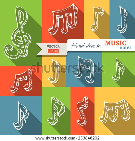 Vector set of music notes and g-clef. Flat music icons with long shadow. Retro design. - stock vector