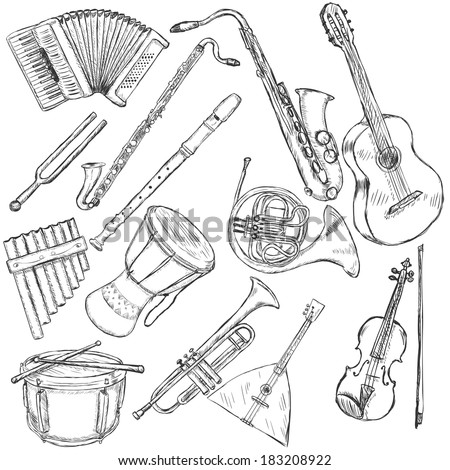 Vector Set of Musical Instruments: accordion, fork, clarinet, flute, sax, guitar, panpipe, african drum, french horn, drum, trumpet, balalaika, violin - stock vector