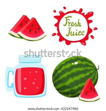 Vector set of natural fresh watermelon juice in bank and watermelons isolated on white in cartoon style. Healthy organic fruit drink and speech bubbles with handwritten lettering