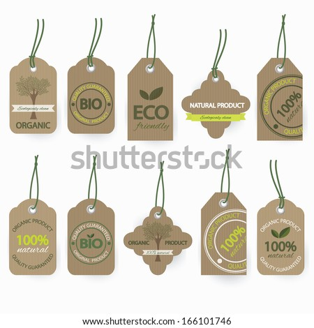 Vector set of natural organic cardboard labels. - stock vector