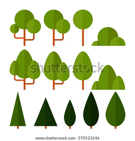 Vector set of nature icons in a flat style. Different kinds of trees, spruce, pine, shrubs. Eco. For your design - stock vector