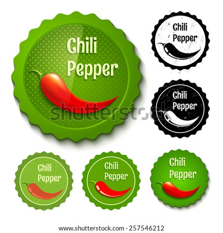 Vector set of new and retro chili stamps - stock vector