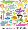 vector set of new geo animals 25 - stock vector