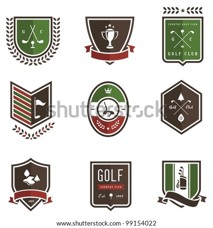 Vector set of nine colored golf emblems - stock vector