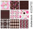 Vector set of nine colorful seamless pattern - stock photo