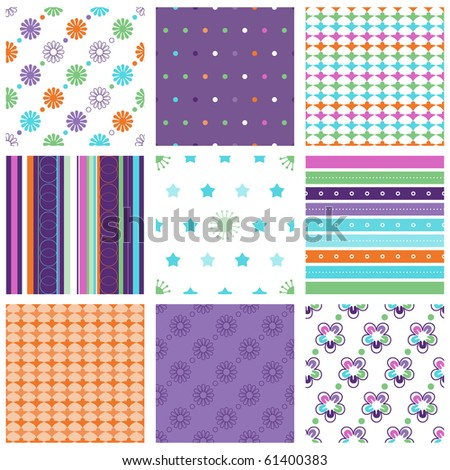 Vector set of nine colorful seamless pattern - stock vector