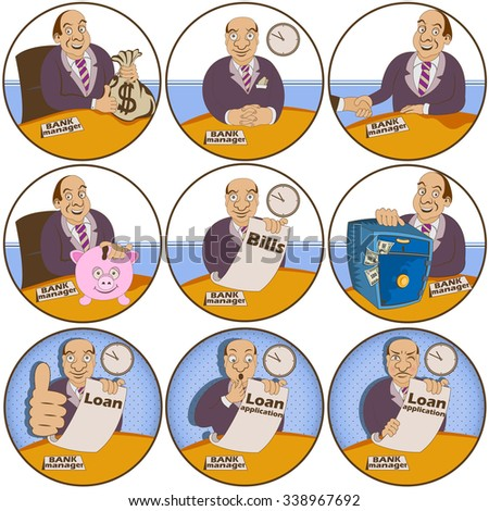 Vector set of nine different bank manager rounded illustrations. - stock vector