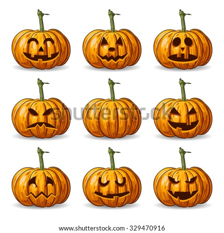 vector set of nine Halloween pumpkin faces. EPS - stock vector