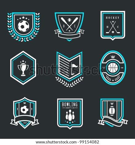 Vector set of nine modern sport emblems - stock vector